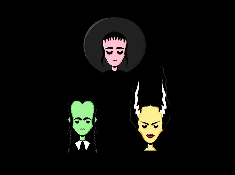 GIRLLOWEEN spooky october horror bride of frankenstein wednesday addams addams family beetlejuice girls halloween