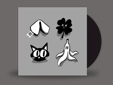 September // Hello Violet - Bad Luck monochrome minimal 2d procreate illustration clover banana peel black cat fortune cookie bad luck vinylart vinyl music