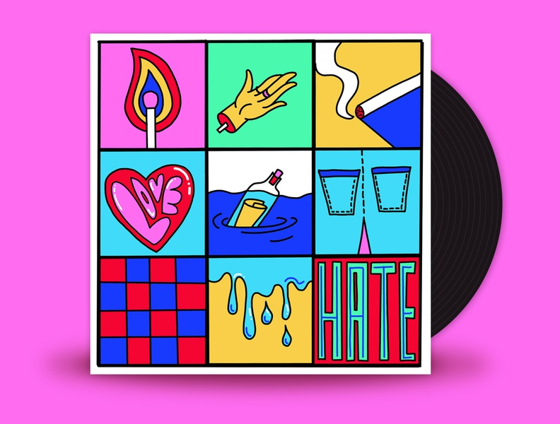 October // Stand Atlantic - Hate Me angst teenage girl neon flat 2d vector illustration emo stand atlantic blood fire smoke water love hate cover design vinyl art vinyl music