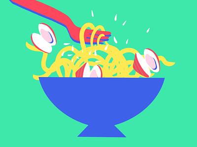 Spaghetti alle Vongole italian food food illustration design palette minimal flat 2d vector illustration food italy spaghetti pasta clams