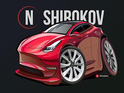 The cartoon of Tesla Model 3 model electriccar elonmusk teslamodelx teslamodel3 teslamodels teslamotors tesla teslaenergy