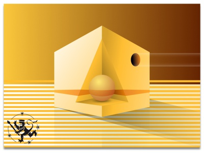 Basic Forms No 2 in Yellow madeinaffinity illustration still-life callmefafa stripes yellow pyramid triangle circle sguare basicforms