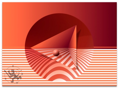 Basic Forms No 7 in Orange I orange oranssi raidat pallo kolmio ympyrä kuvitus pyramid stripes circle illustration madeinaffinity callmefafa