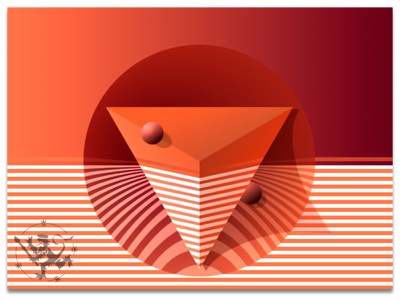 Basic Forms No 7 in Orange II orange oranssi kuvitus illustration pyramid kolmio perusmuodot basic forms circle ympyrä raidat stripes madeinaffinity callmefafa
