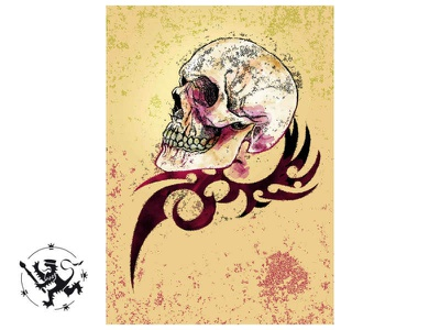 Scull and Tribal handdrawn affinity photo callmefafa gouache illustration tribal scull
