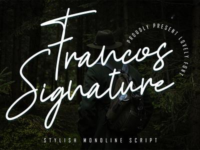 Francos Signature - Stylish Monoline Font lettering calligraphy handwritten clothing branding kids elegant business retro brush bold free modern vintage script fonts logo font