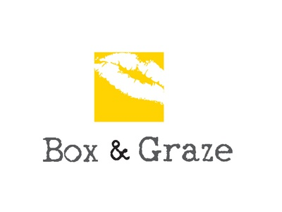 Box Graze mouth square lips logo design yellow food packaging eating cardboard cardboard box graze lips food logo food box
