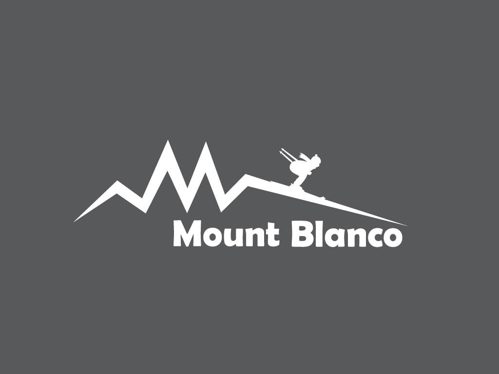 Ski Mountain Logo white winter snow ski logo mount blanco mountain ski dailylogochallenge dailylogo