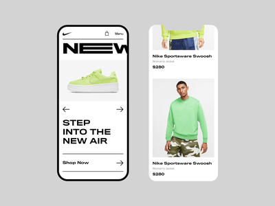 Nike | Main Page (Turn on sound) web design responsive mobile lookbook product clean ui landing page photo uidesign bold monkey fashion shoes clothes store ecommerce shop motion animation nike