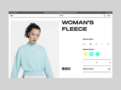 Product Page | Interaction fashion clean purchase clothes ecommerce photo hover product store shop nike ux ui animation web design