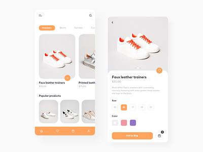 Shoes App ecommerce shop shoes app mobile inspiration concept ui design app shoes