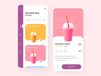 Smoothie mobile app mobile clean design concept inspiration ui design drink cocktail shake web design app design application app ux ui