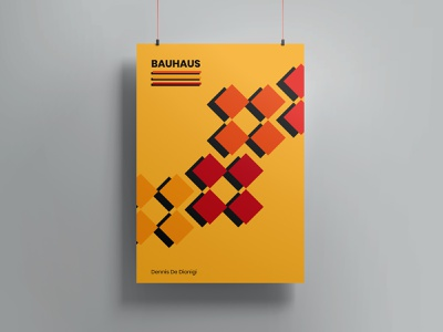 Bauhaus 100 pattern anniversary 100 visual design visual art red yellow squares square design art designer graphic design graphic bauhaus bauhaus100 poster design poster art poster design