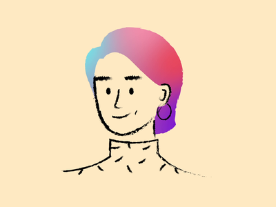 Rainbow hair pink after effect gradient modern contemporary hair transition profile woman rainbow colour 2d animation line chalk organic character procreate simple illustration