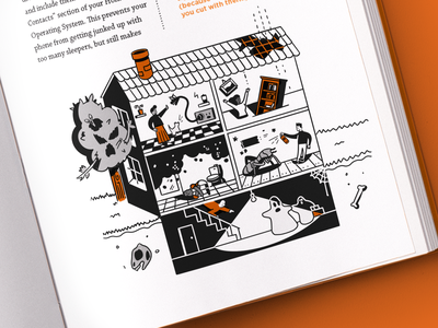 'In case you get hit by a bus' book illustrations book cover workman literature orange modern contemporary monochrome procreate publishing book white black monoline simple illustration