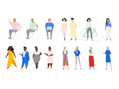 Google character designs skirt dress green red yellow blue man wheelchair walk curvy bike poses character design product tech google diversity grain vector illustration