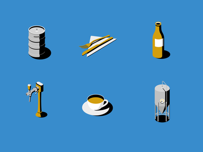 Beer bible map icons design print books contrast simple gold blue maps iconography beer tap keg coffee bottle icons publishing cutlery beer isometric illustration
