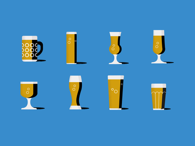 Beer bible different glasses contrast illustrator vector gold blue spot illustrations iconography publishing books pint tulip colour grain organic simple illustration