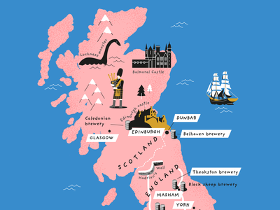 Beer bible Scotland map gold blue pink map design typography map vector organic publishing books hadrians wall balmoral castle lochness bagpipes sails ship grain stippling scotland illustration