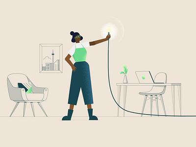 Lition german product character design chair city desk laptop plant loungeroom vector gradient fintech grain woman green energy 2d startup animation illustration