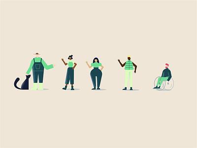 Lition character development green energy startup advertising vector organic geometric woman farmer diversity wheelchair dog character development style simple illustration