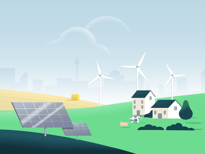 Lition green energy landscape vector illustration haybale green energy advertising product startup gradient cityscape fields hills grain clouds tree biomass solar panels solar energy windmills houses landscape