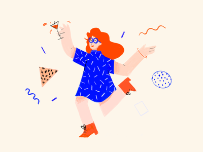 Cutting shapes illustration simple character flat party wiggle pattern orange blue bright 80s style memphis chalk procreate cutting shapes dance