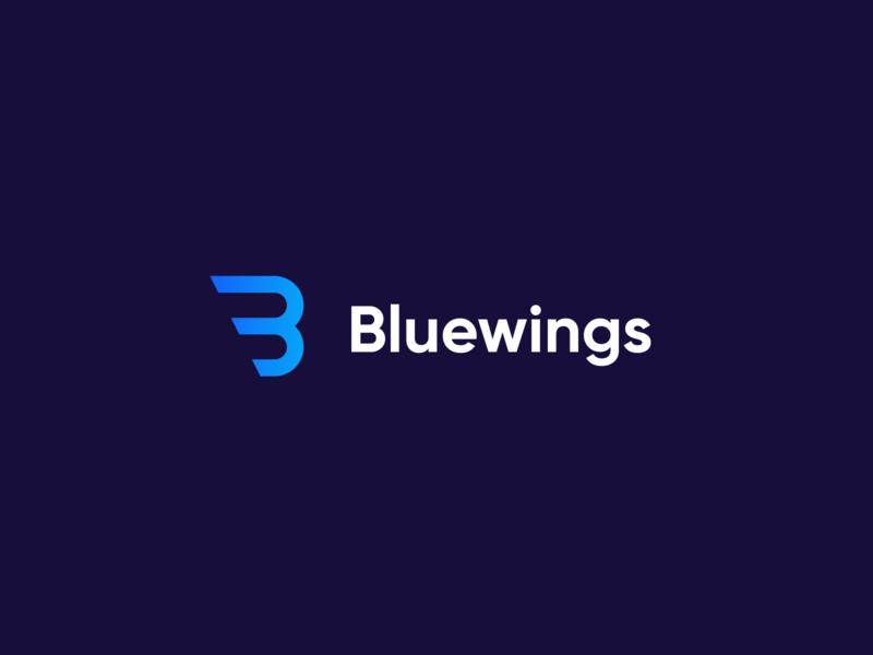 Bluewings mark logo idenity branding