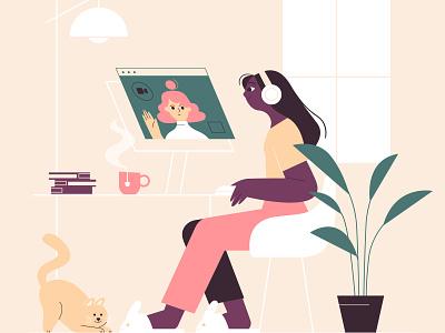 Work from home character design lemonly illustration