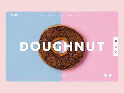 Russel Landing Page socialmedia store food landing page webdesign web illustration app ux ui design