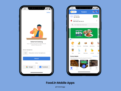 Food.In Mobile Apps Mockup typography icon app branding design android ux ui