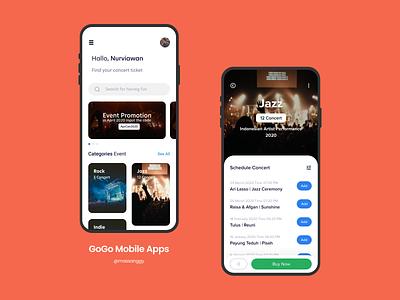 GoGo Online Concert Ticket - Mobile Apps mobile ui concerts tickets android app ux ui design