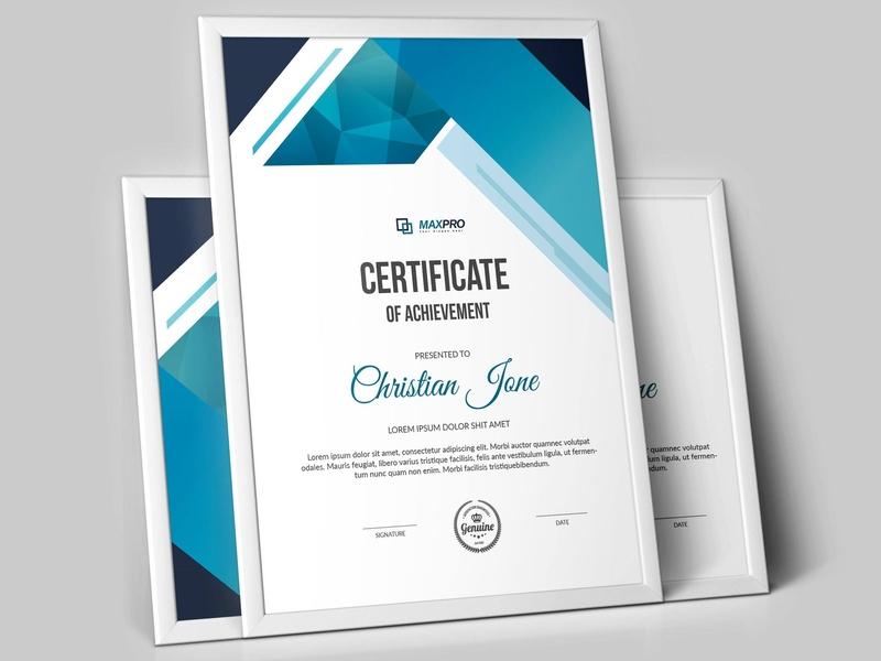 Certificate Design vector blue graphics company design clean photoshop illustration diploma certificate