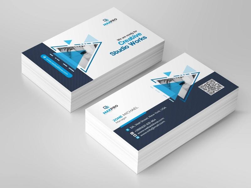 Creative Business Card branding logo business card design blue business graphics company design clean photoshop illustration businesscard