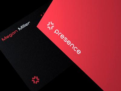 Presence.fit realtime vector business card fitness app logo design identity branding