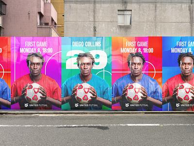 Promo United Futsal poster banner instagram pattern illustration logo animation identity design branding