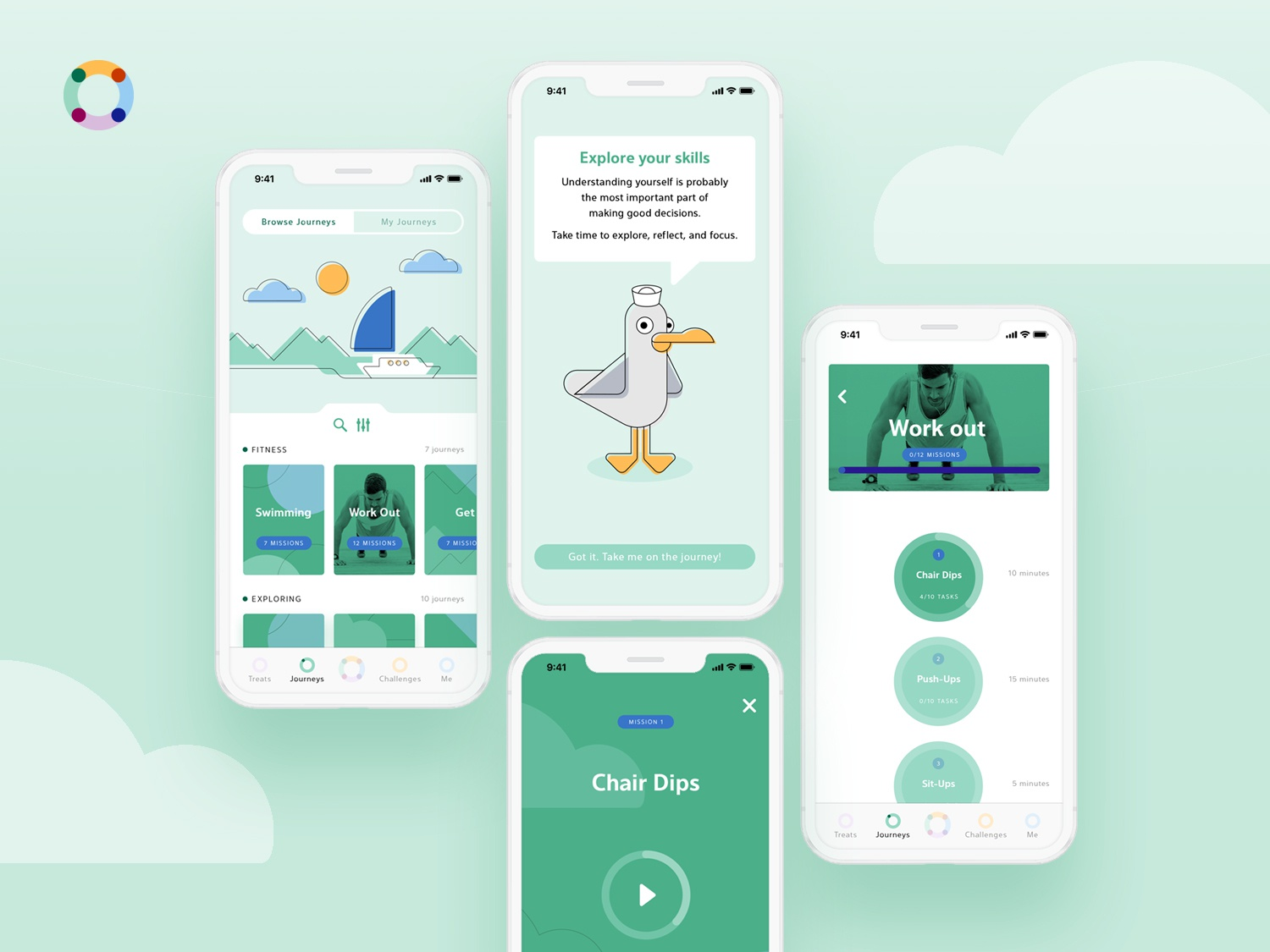 Lifestyle App skills design rewards challenges sports colour palette colours uxdesign sea nautical boat wale seagull character mascot icons motivational lifestyle app illustration