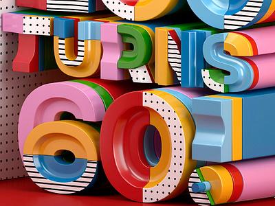 Hot 100 turns 60! c4d design typography illustration 3d