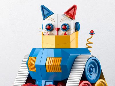 Kitten toy robot cat muokkaa design 3d
