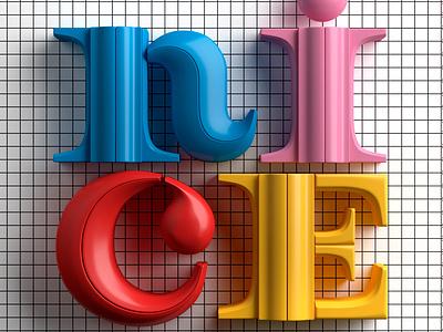 Nice c4d design typography muokkaa illustration 3d