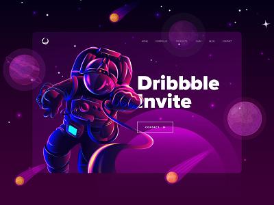 Free Invite to Dribbble dribbble invite invite giveaway invite flat landing page uiux website landingpage ui design web
