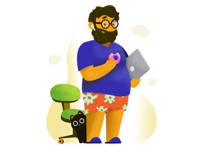 Freddy working from home work laptop food cat developer character illustration affinitydesigner affinity
