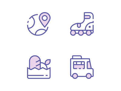 Awecons Update. Coming Soon ... food location skate foodtruck outline flat illustration icon