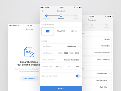 Checkout form checkout app ios white ux ecommerce form ui