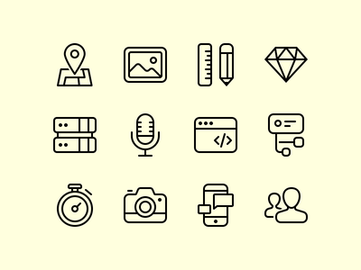 Simple icons prototype mobile photo travel tech socials outline icon icons