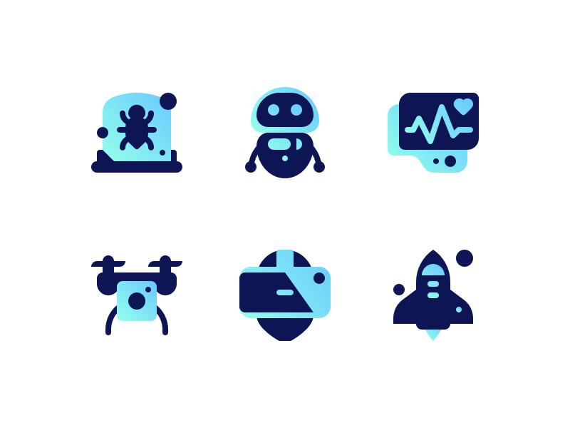 Innova Tech virus vr quadrocopter cardio robot space tech illustrations icons