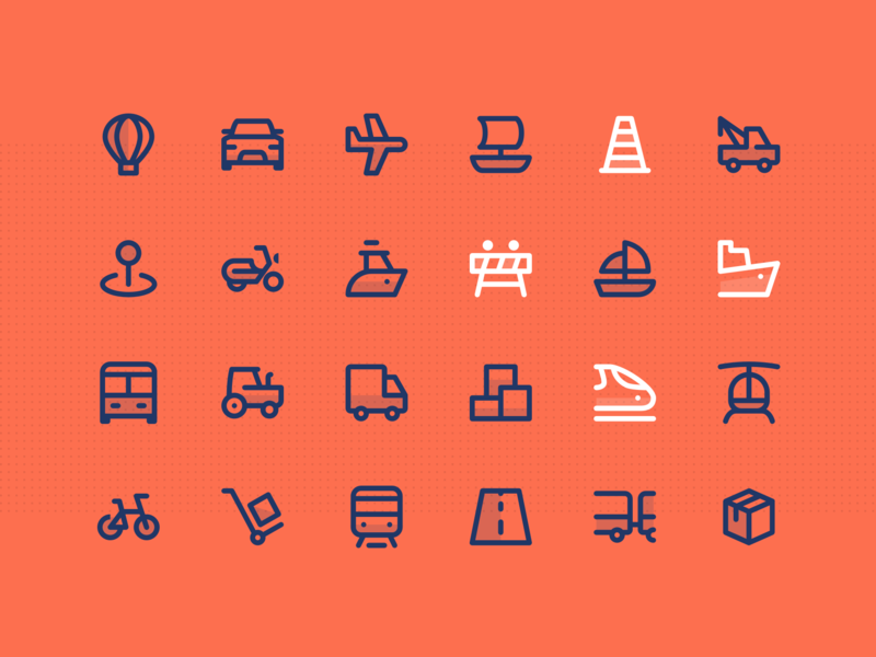 Greatlines - Transport icons road air fly moto box cycle tractor truck bus car transport vector outline ui icons ui  ux