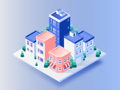 Iso Snow City tiny green tree market town color building city illustration isometric