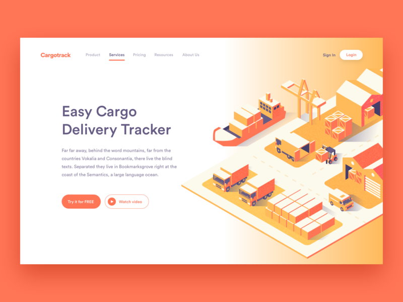 Cargo Tracking ux vector perspective isometric delivery cargo illustration website web ui