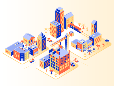Iso City Illustration yellow construction builder isometric city vector web illustration